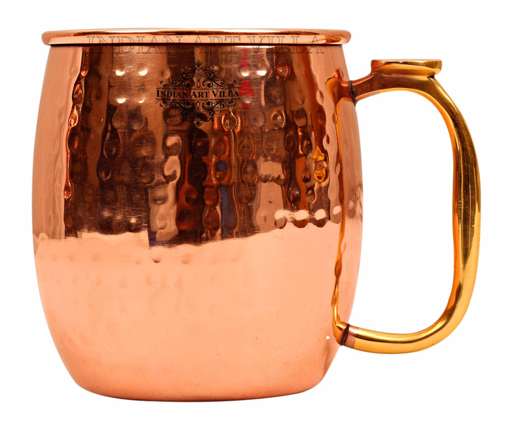 Steel with Copper Plated Hammered Beer Mug With Brass Thumb Design Handle