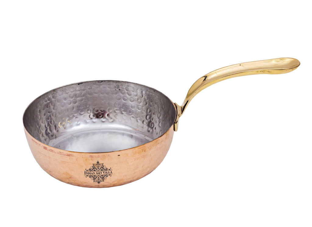 Steel with Copper Plated Hammered Design Serving Sauce Pan Pans CC-17