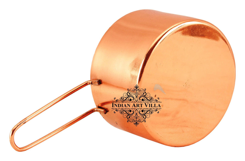 Steel with Copper Plated Tea/Milk Pan with Handle 250 ML Steel pans Indian Art Villa