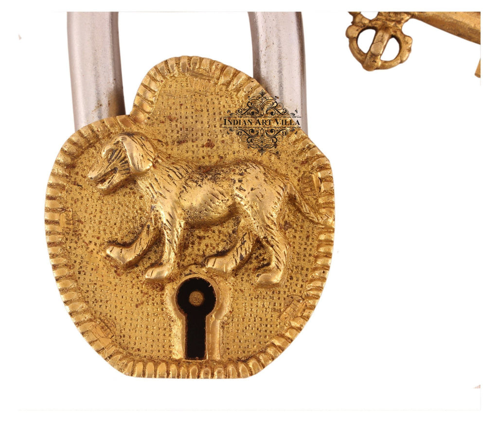 Vintage Style Dog Brass Security Lock Designer Locks Indian Art Villa