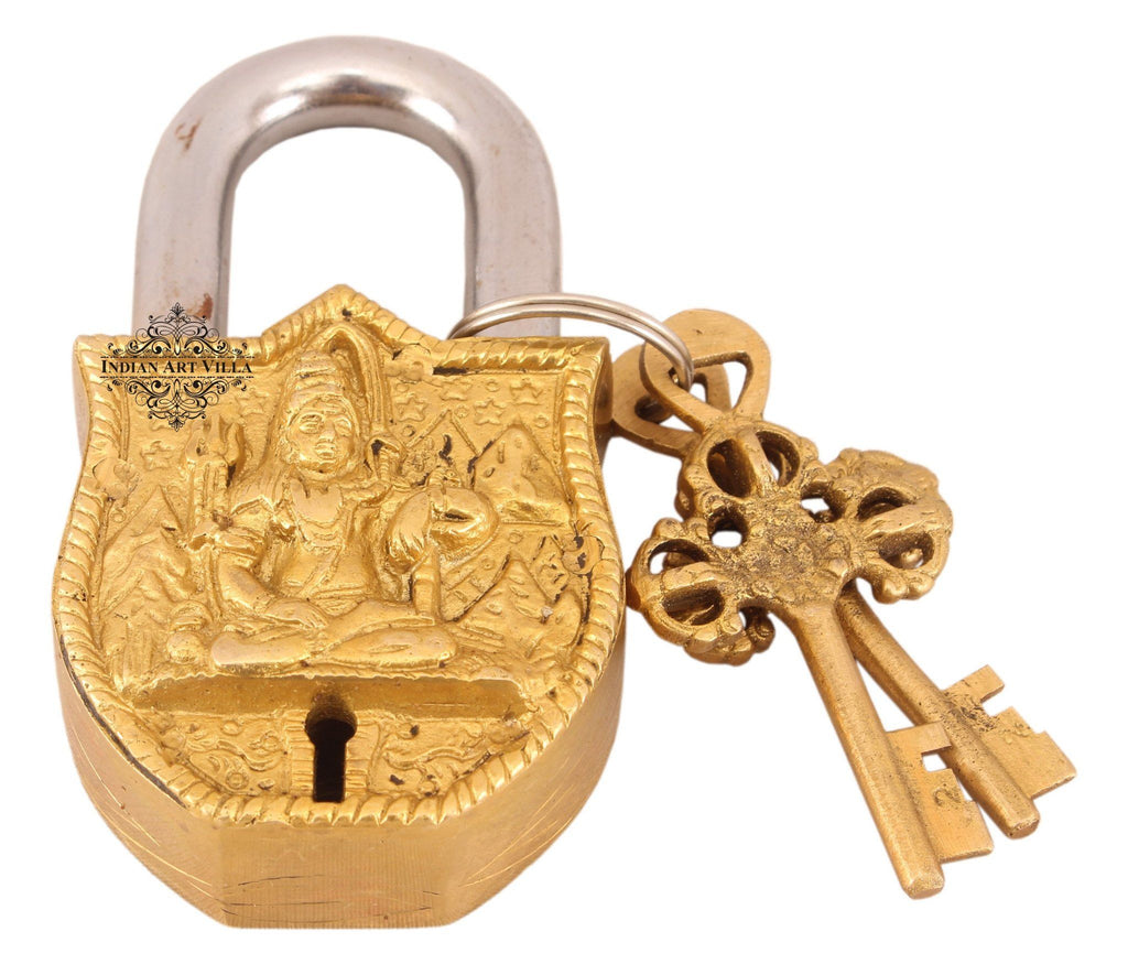 Vintage Style Lord Shiva Brass Lock Designer Locks Indian Art Villa