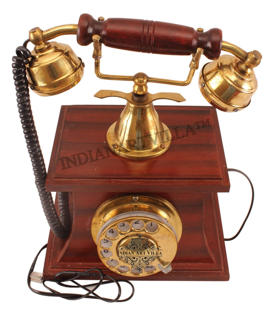 Wooden Brass Vintage Style Rotary Dial Phone 100% in Working Condition Home Accent Indian Art Villa