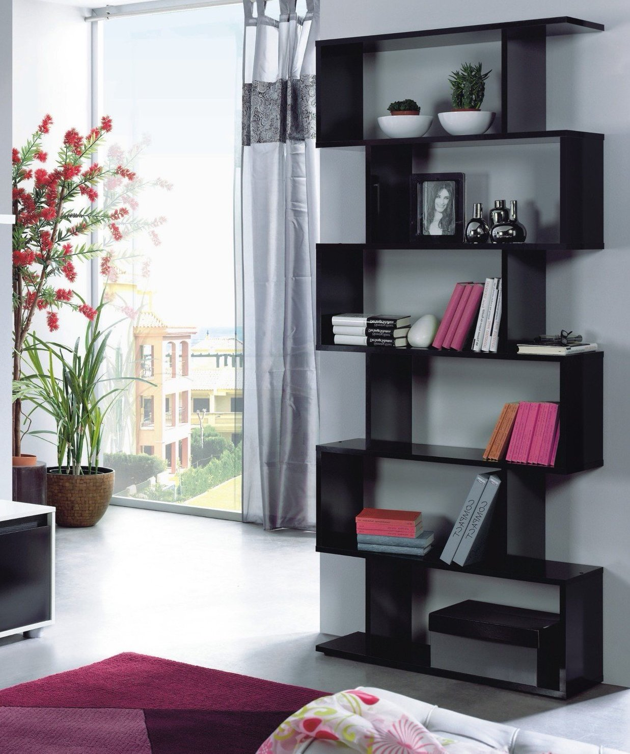 Alexis Tall Open Bookcase Room Divider In Black Gloss