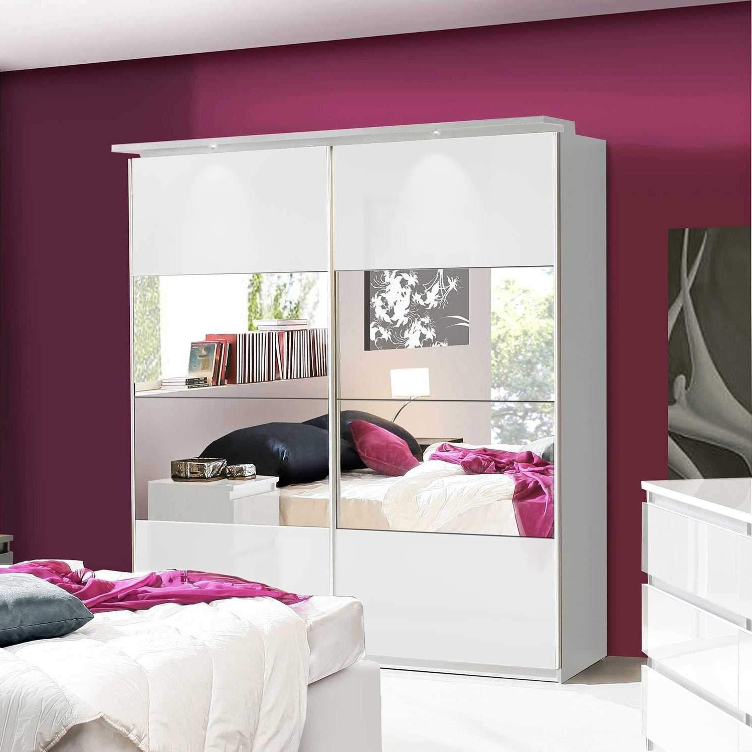 Laurence 170cm Wardrobe With Mirrored Sliding Doors In White Gloss
