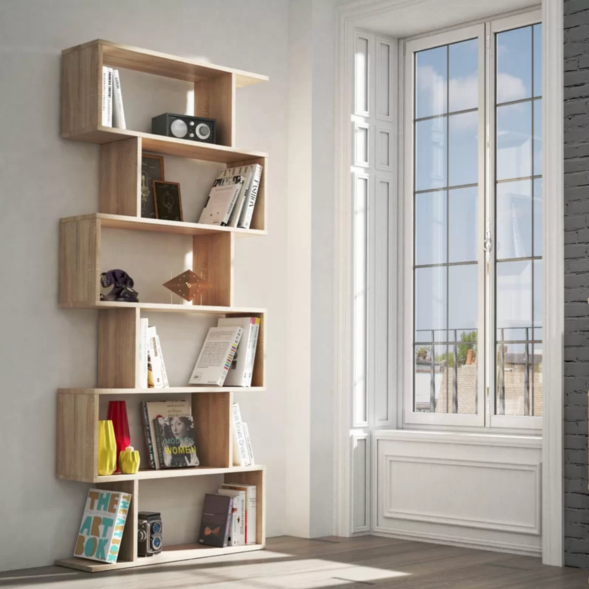 Trinity Tall Open Bookcase Room Divider In Oak Colour