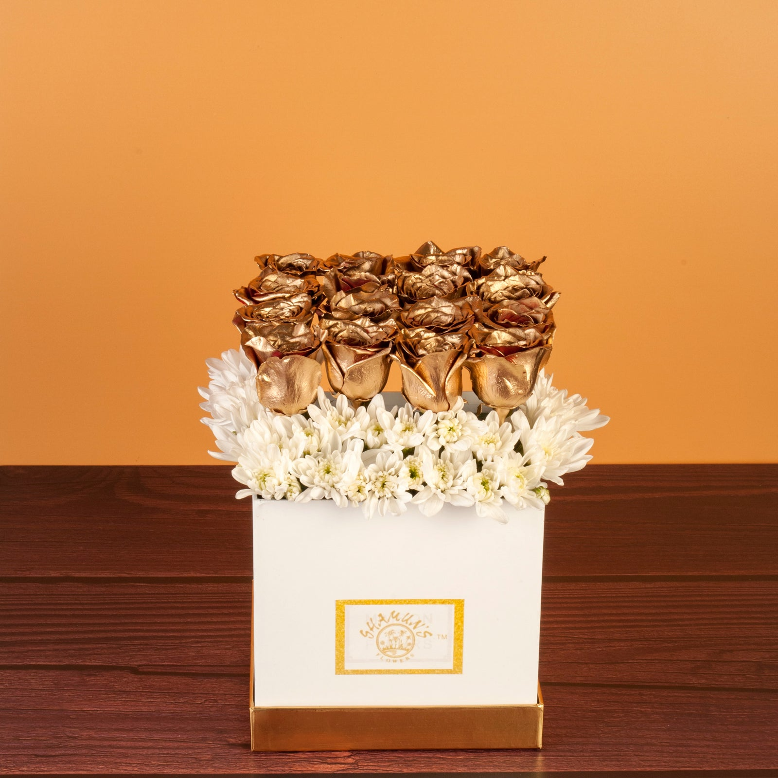 Gold Roses in a Hat Box