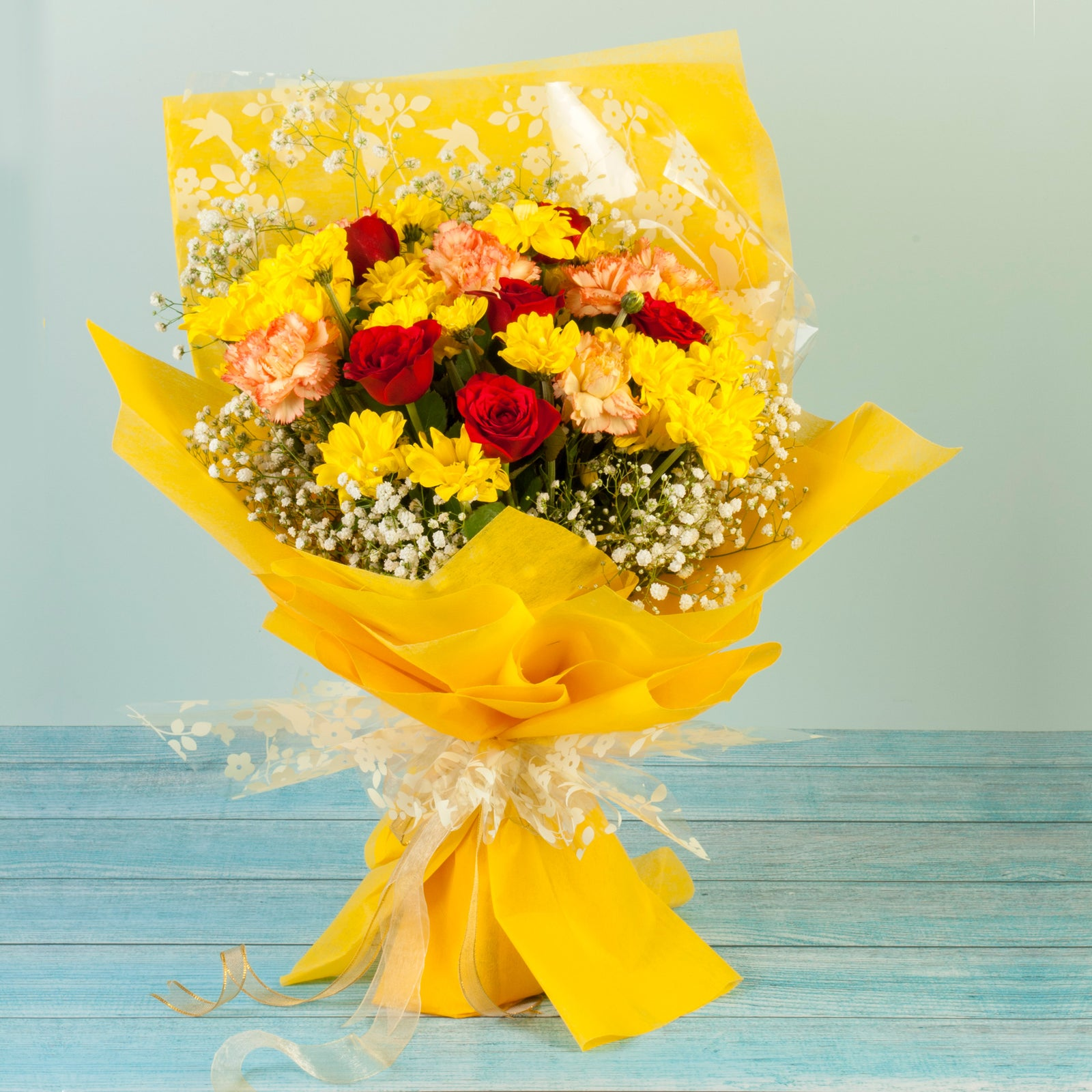 Roses Carnations and Chrysanthemums Bouquet Online