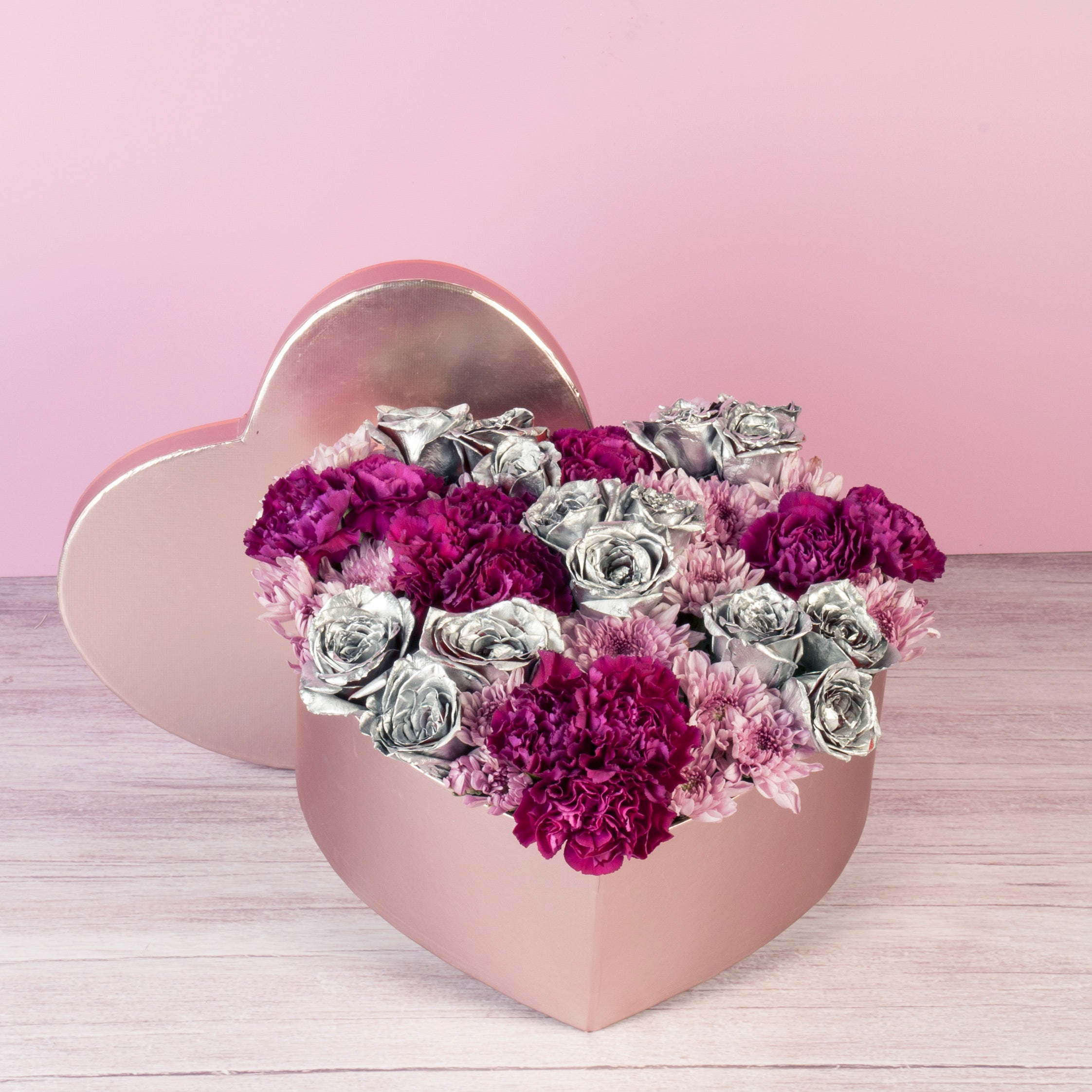 Heart Box with Silver Roses