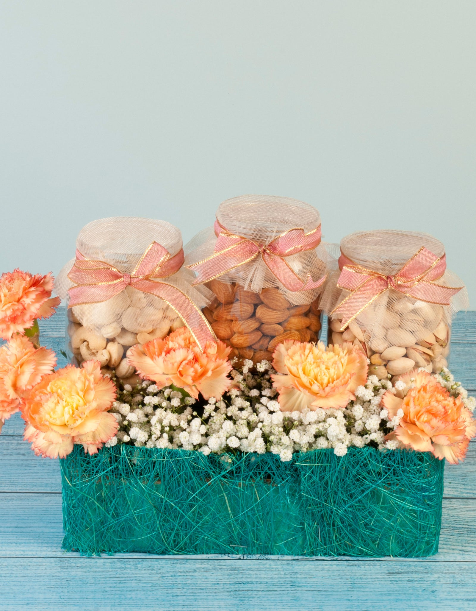 Dry Fruit Gift Hamper with Flowers