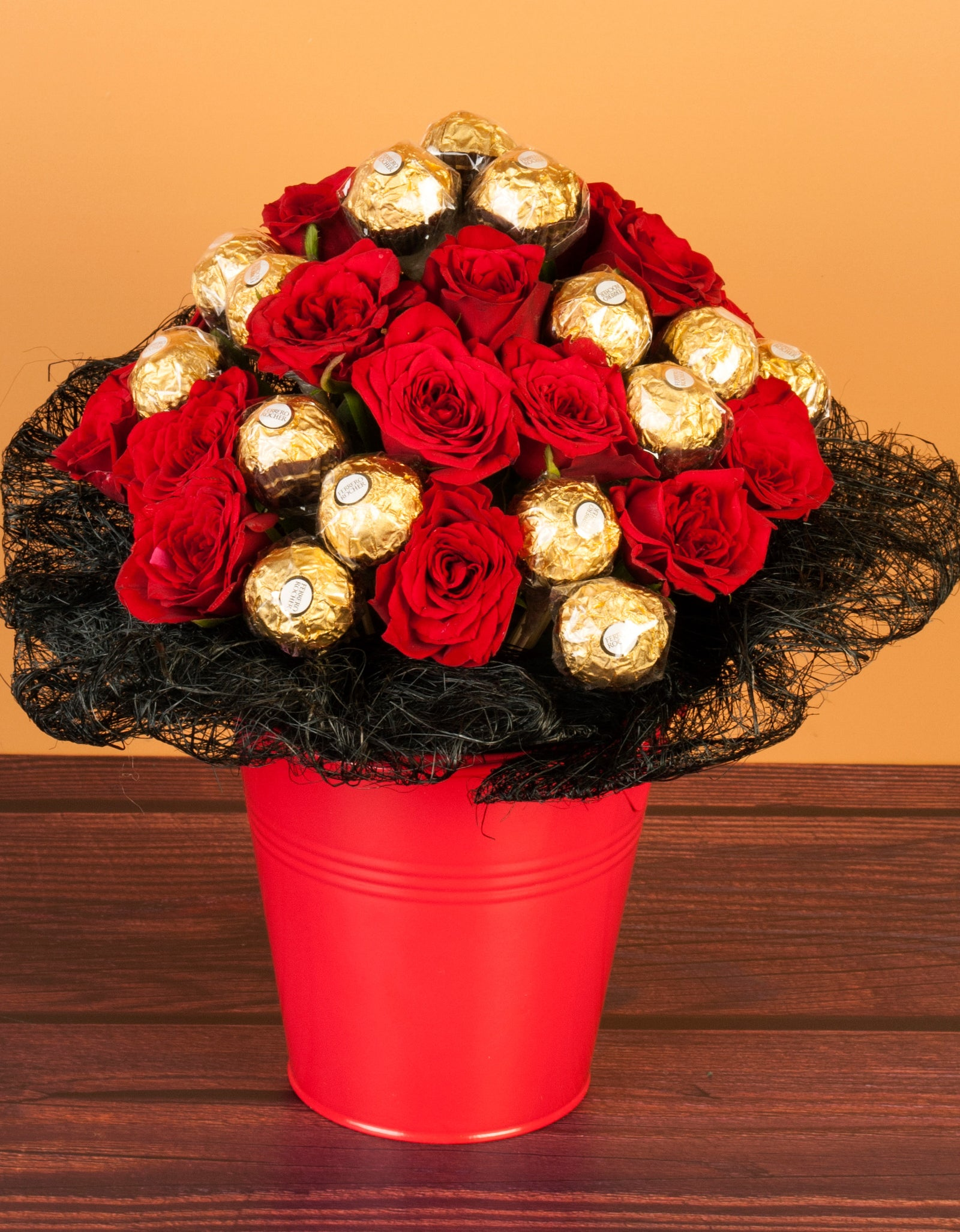 Roses & Ferrero Rocher Chocolates In Metallic Box