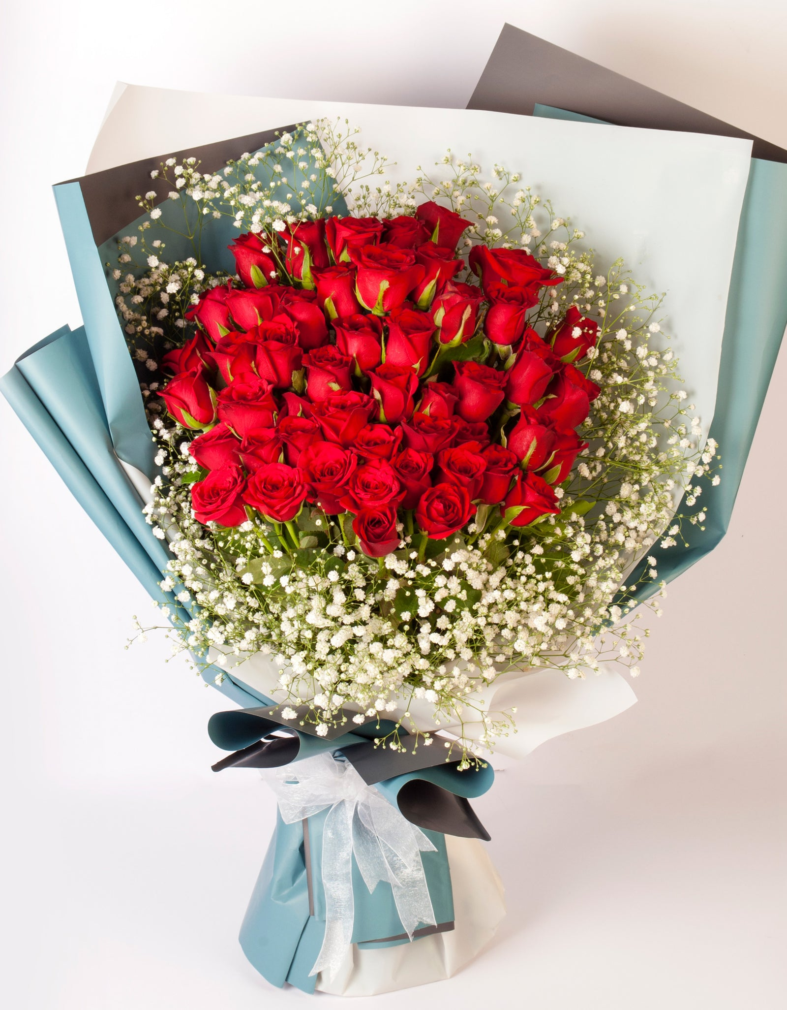 Hand Wrapped Bouquet of 50 Red Roses