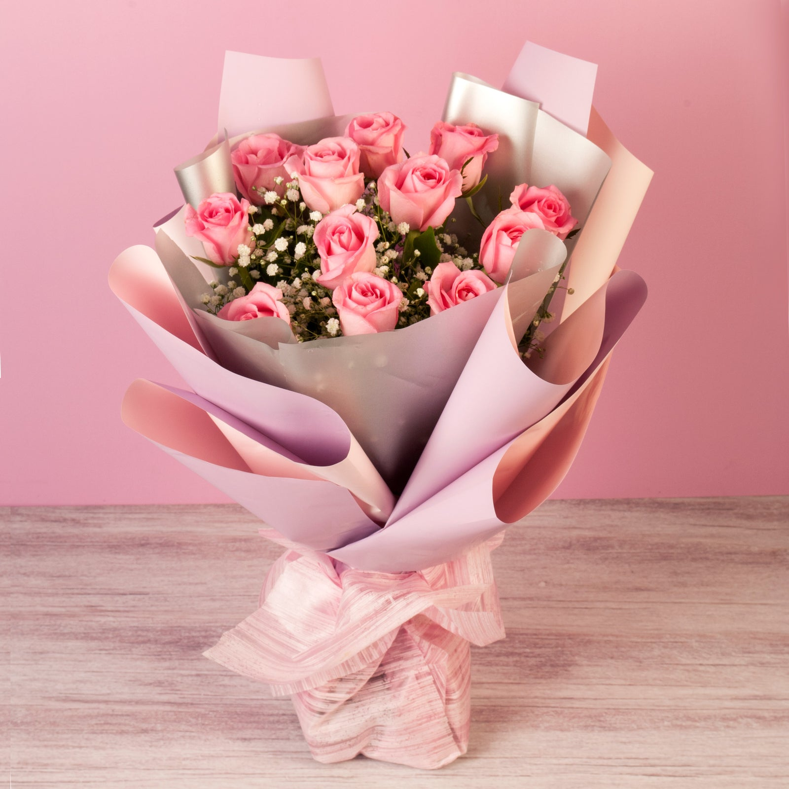 Hand Tied Bouquet of 12 Pink Roses