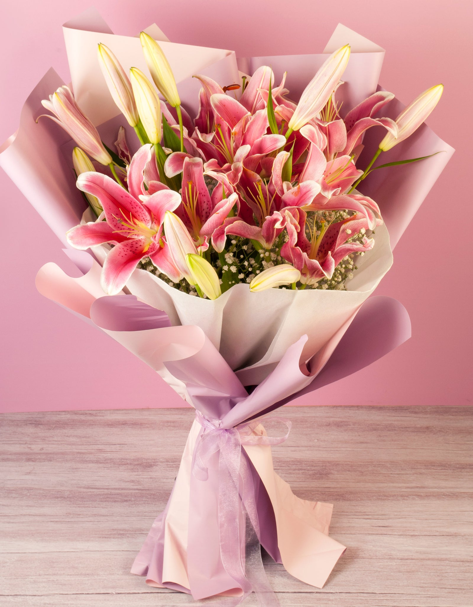 Oriental Lilies Hand Tied Bouquet