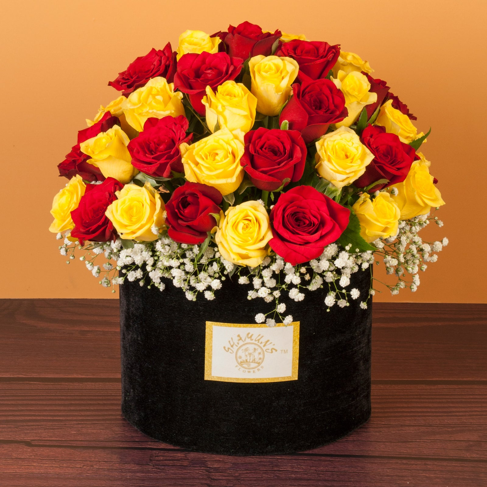 Red & Yellow Roses Delivered In A Hat Box