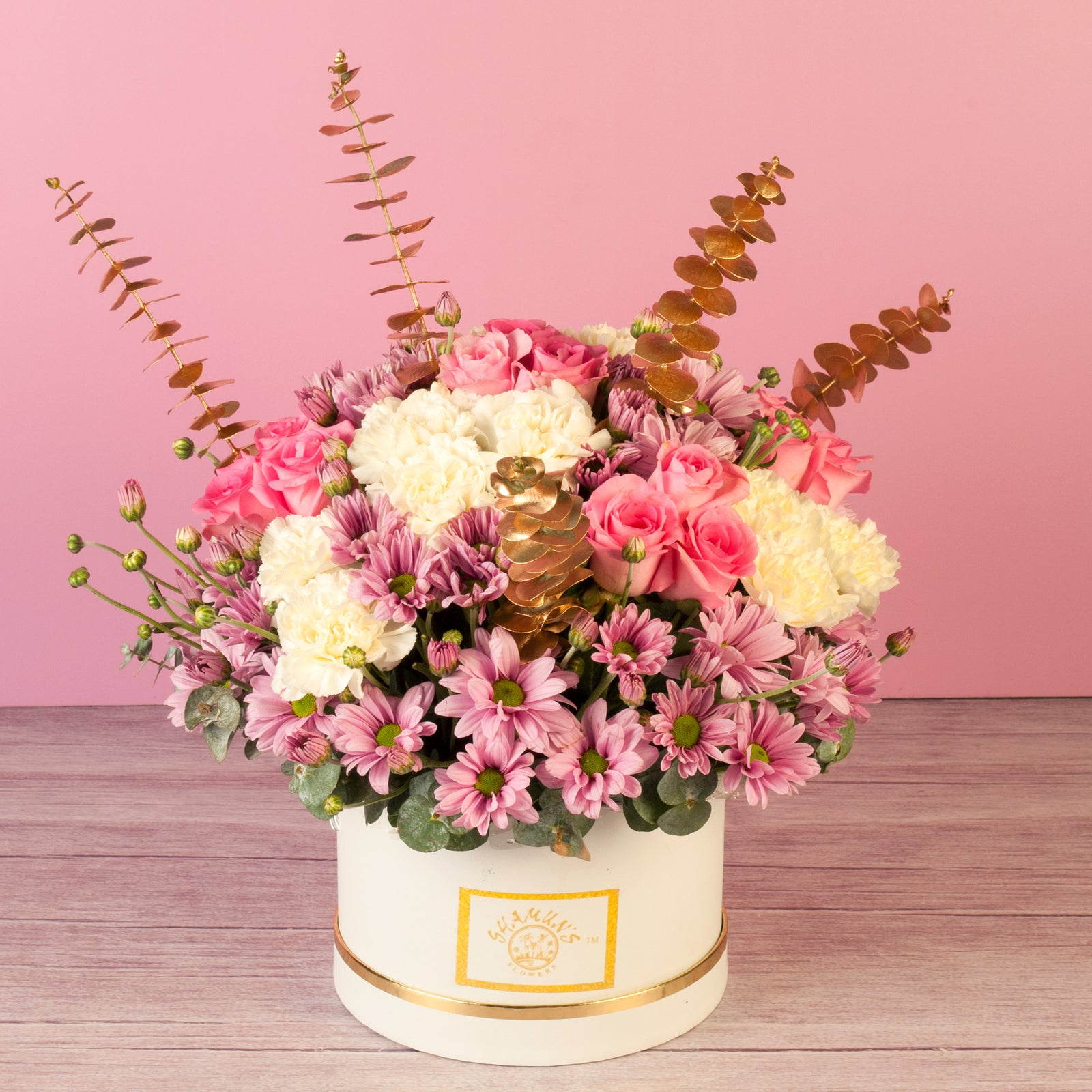 Pink And White Boxed Flowers Online
