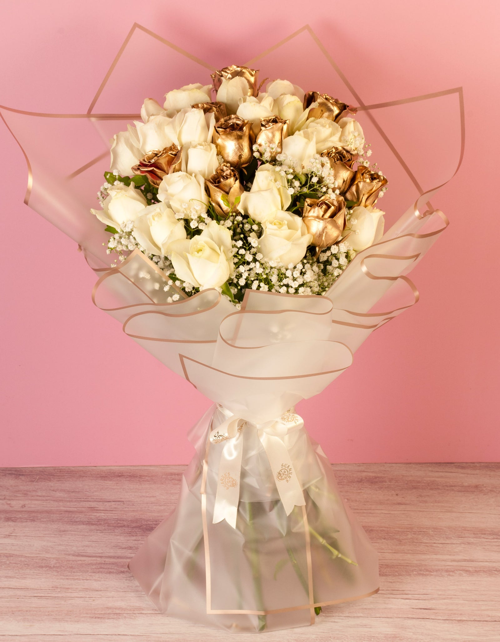 White and Gold Roses