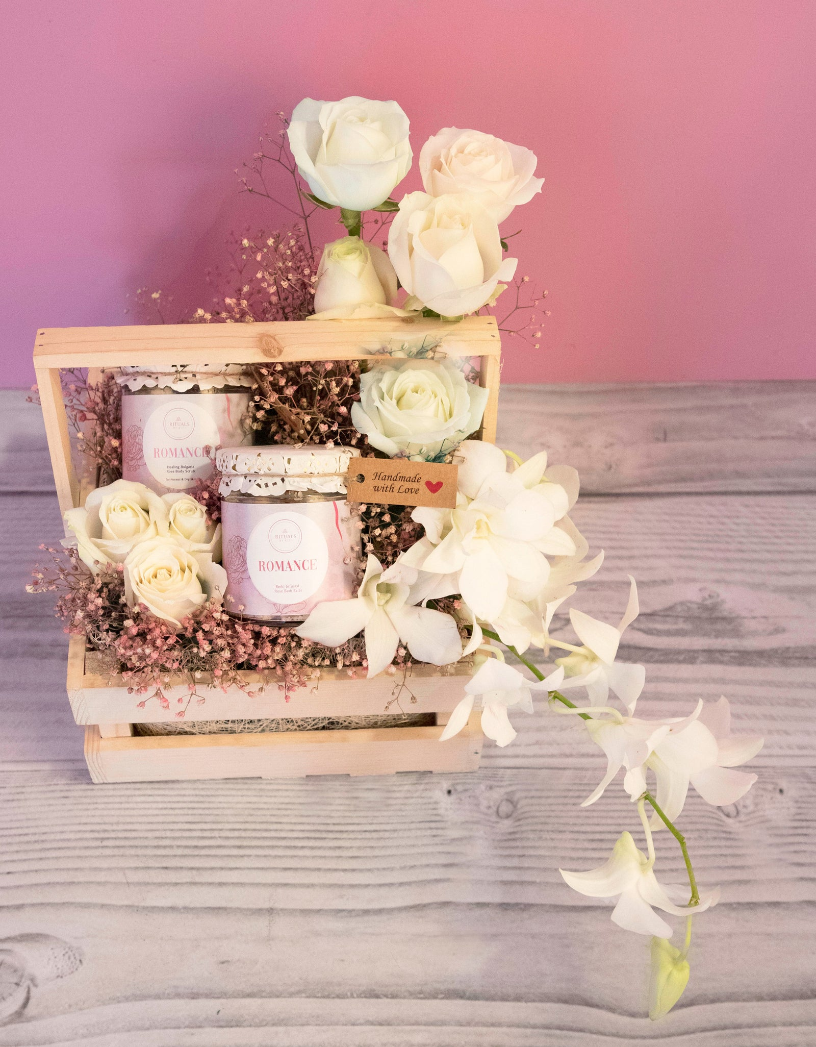 Salts and Scrub Floral Hamper(Reiki Infused)