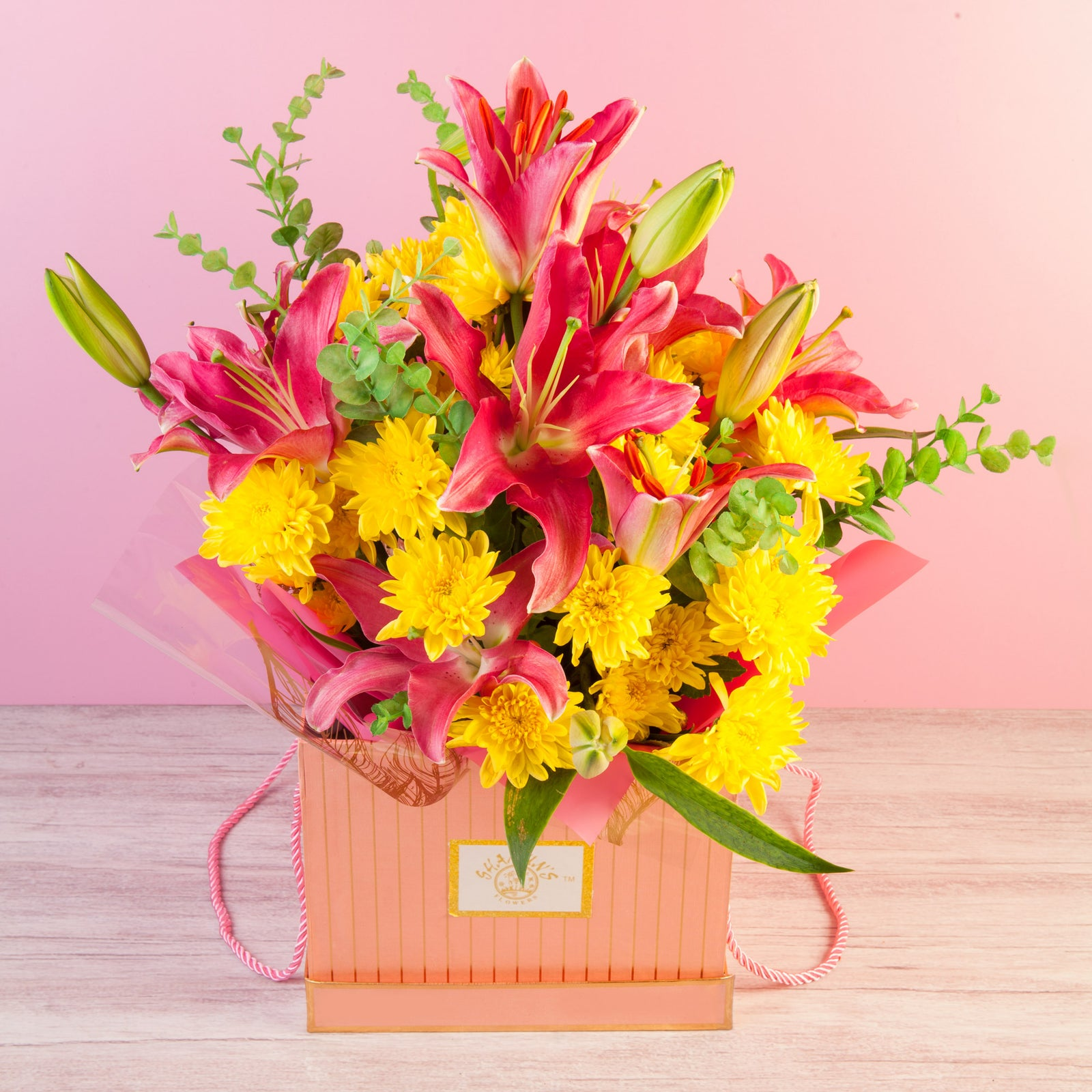Lilies & Chrysanthemums Boxed Flower delivery in Pune