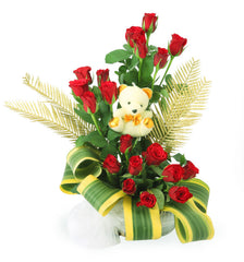 20 Red Roses With A Teddy Arranged In Basket