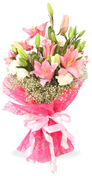 Lilies and Carnation Flower Bouquet Online Delivery
