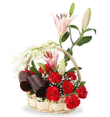Basket Of Lilies Carnations & Orchids flowers delivery in Pune