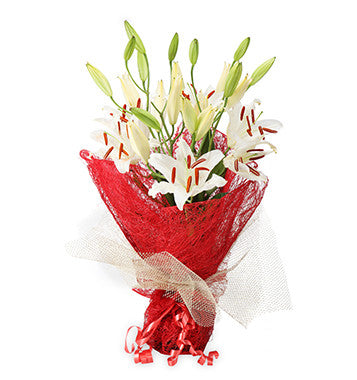 send white lilies flower bouquet online to pune