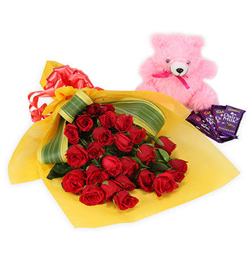 Rose Bouquet with Chocolates & Teddy Bear from Pune online florists