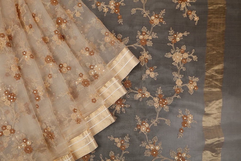Handwoven Organza Silk Cream Saree With Brown And Cream Flowery Embroidery Parsi Work