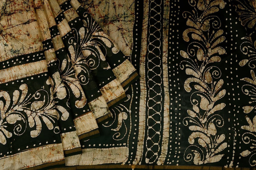 Chanderi Silk Cotton Coffee Color Saree With Batik Print Pattern