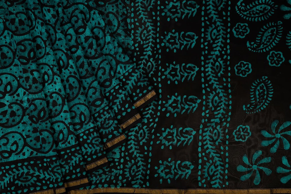 Chanderi Silk Cotton Blue And Black Saree With Batik Print Pattern