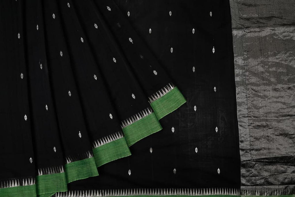 Black Handloom Cotton Saree With Green Temple Border