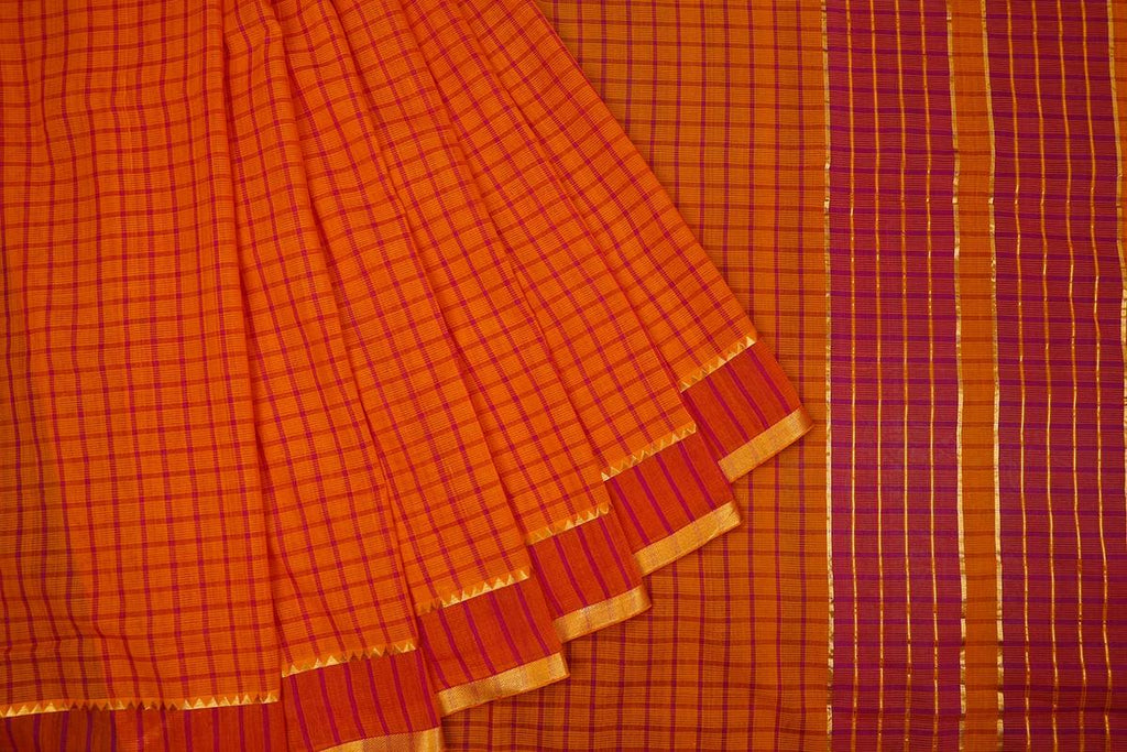 Orange Handloom Cotton Saree With Running Border With Temple Design