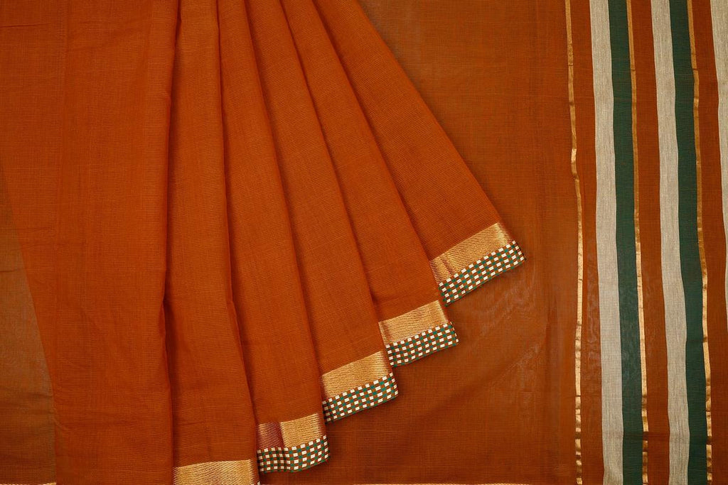 Dark Mustard Yellow Handloom Cotton Saree With Chatai Pattern Border