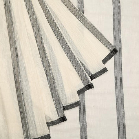 bengal jamdani cotton white and black Saree with thin black border
