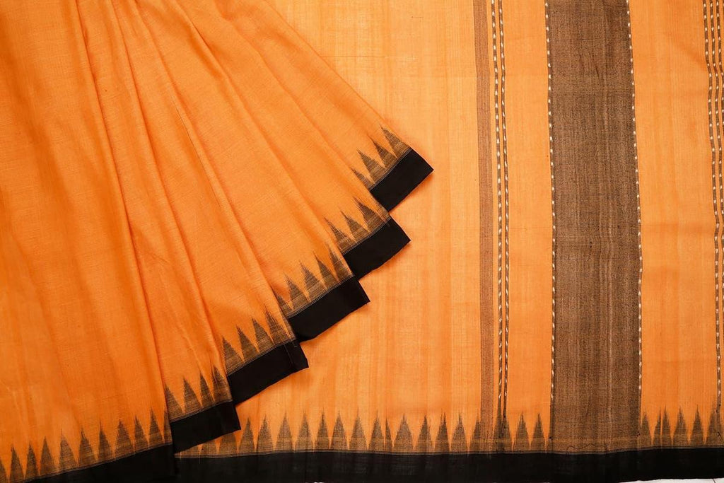 Sambalpuri Ikkat Cotton Brown Saree With Temple Border