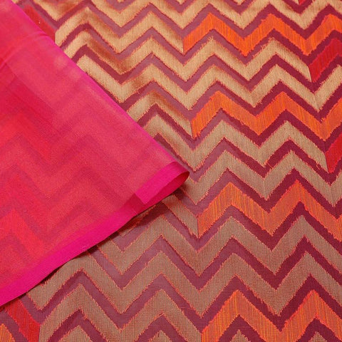 Orange And Magenta Pink Organza Silk Zari Work Saree
