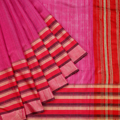 Birbhum Handloom Dupion Silk Pink Striped Saree