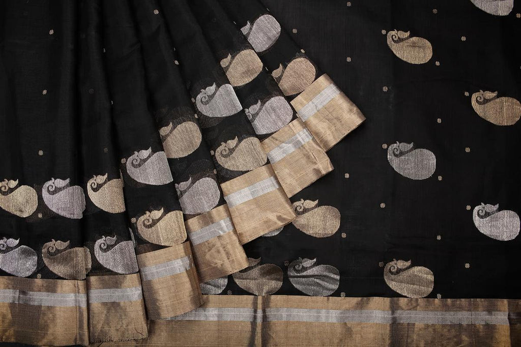 chanderi silk by Cotton black zari floral butti Saree