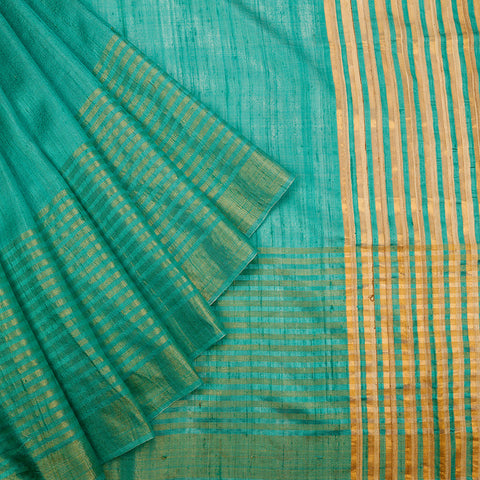 Birbhum Handloom Dupion Silk Sea Green Saree