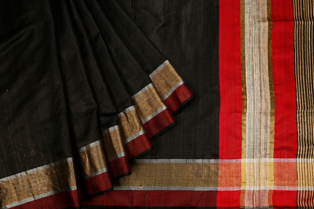 Birbhum Handloom Dupion Silk Black Saree