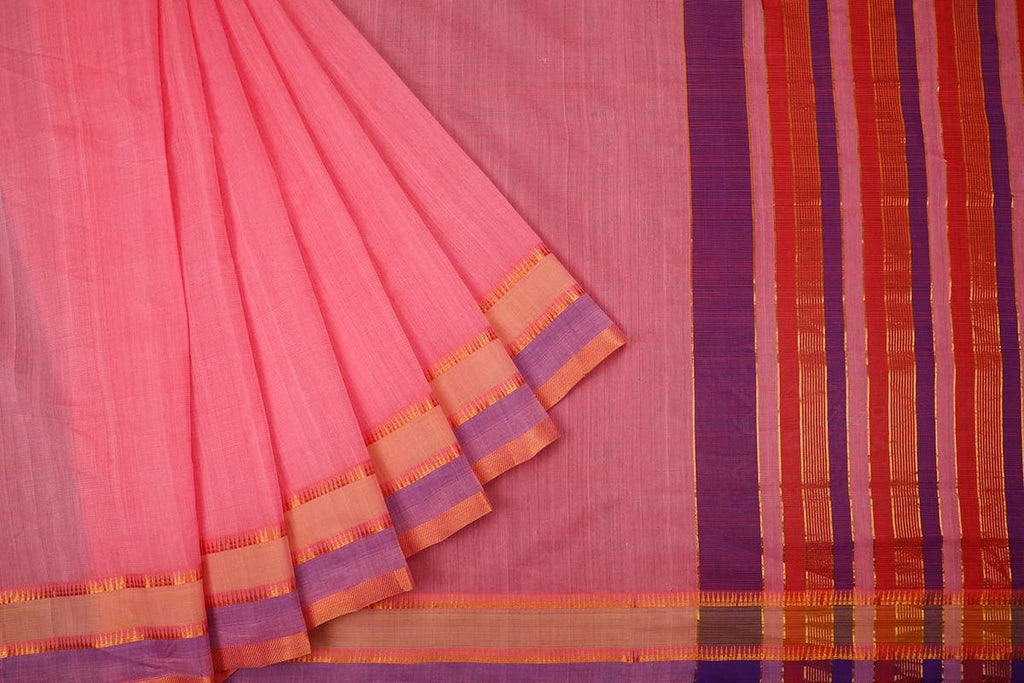 Light Pink Handloom Cotton Saree With Temple Border