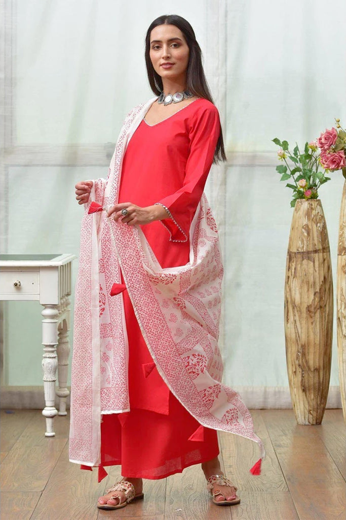 Red And White Cotton Kurta Pallazo And Dupatta Set With Hand Block Work