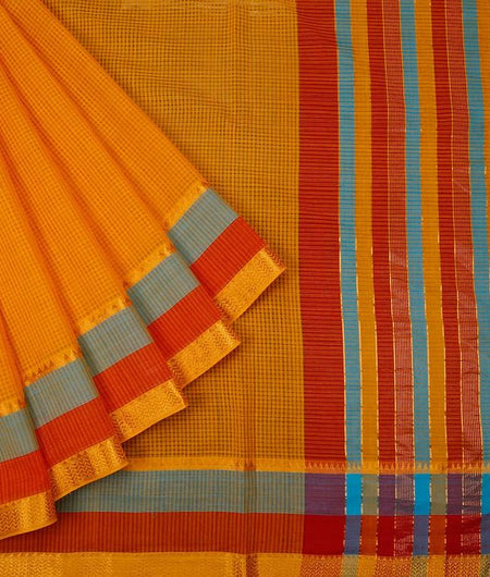 Sunflower Yellow Handloom Cotton Saree With Tri Color Zari Border