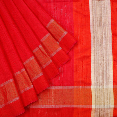 Birbhum Handloom Dupion Silk Red Orange Saree