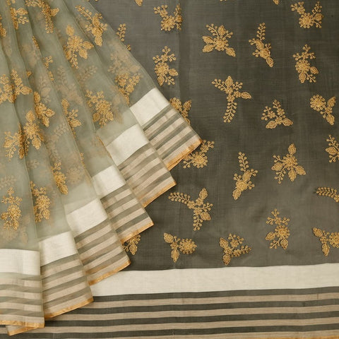 Handwoven Organza silk dark sea green  Parsi work Saree With white and golden stripes border