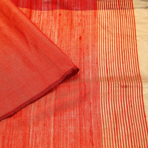 Birbhum Handloom Dupion Silk Red Zari 1/2 & 1/2 Saree