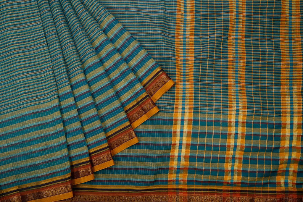 Narayanpet  Handloom Cotton Saree In Blue