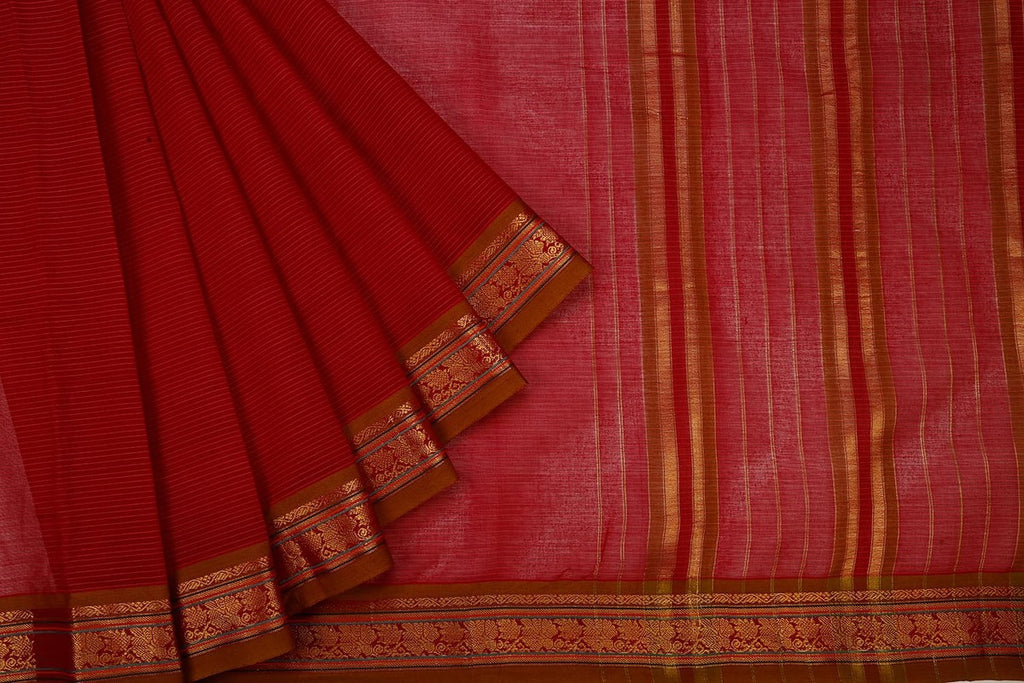 Narayanpet  Handloom Cotton Saree In Dark Pink