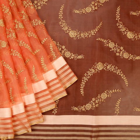 Handwoven Organza Silk Peach Parsi Work Saree With Light Orange And Golden Stripes Border