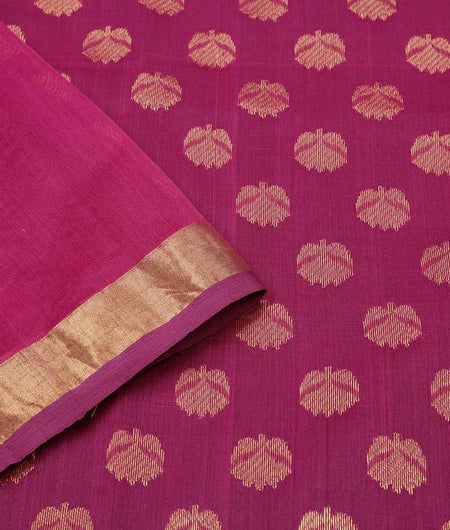 Chanderi silk by silk rani pink floral butti Saree
